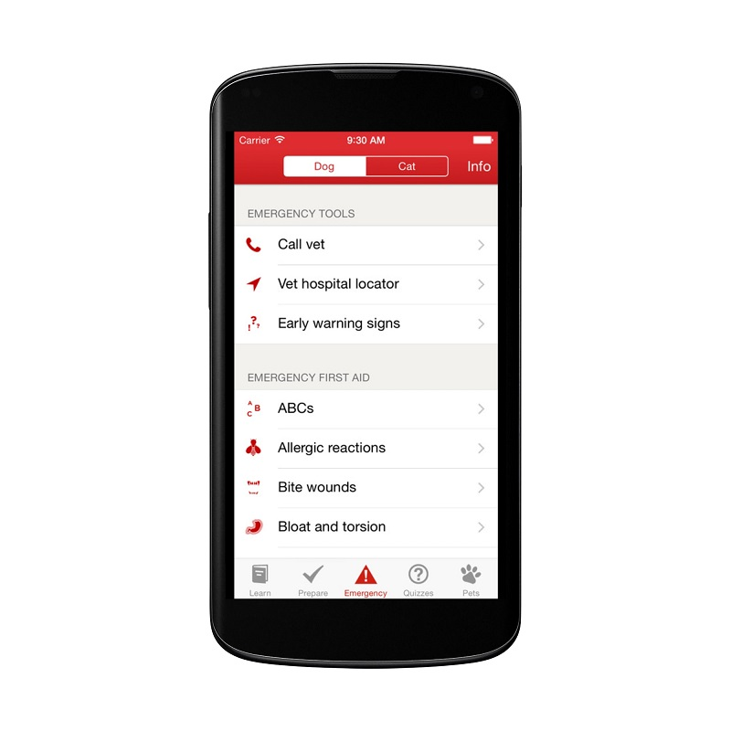 red cross pet first aid app screenshot