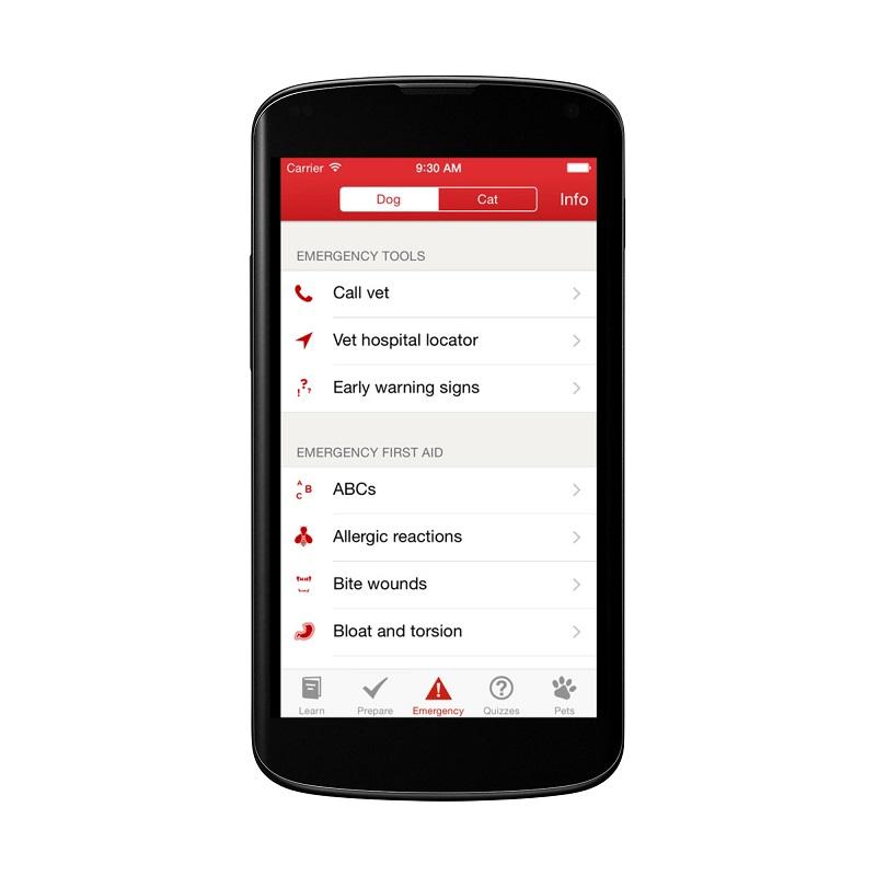 red cross pet first aid app screenshot