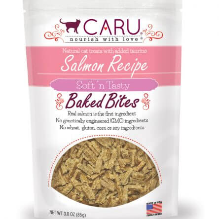 CARU Natural Salmon Recipe Soft 'n Tasty Bites for Cats, 3oz Bag