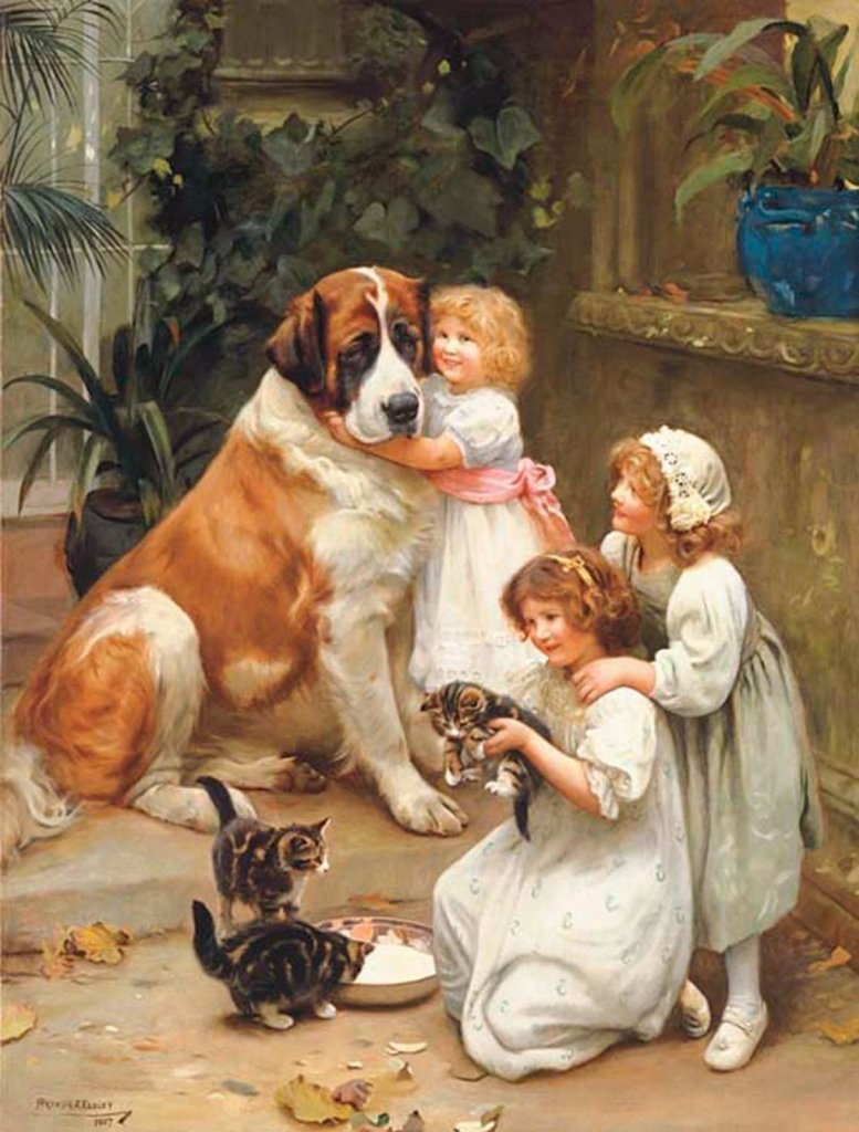 can cats drink milk - victorian painting of saint bernard dog, three young girls, and three kittens drinking from a bowl of milk