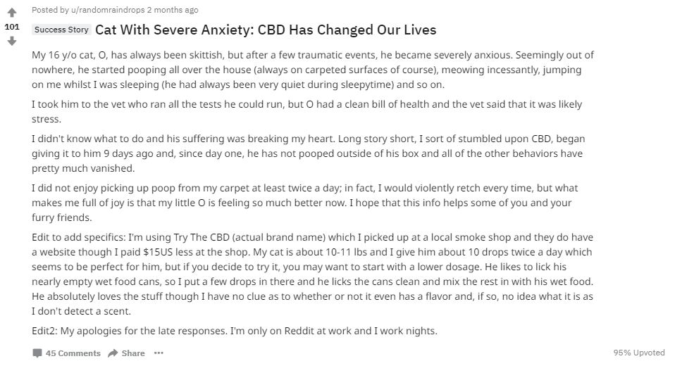 CBD for cats with anxiety reddit screenshot