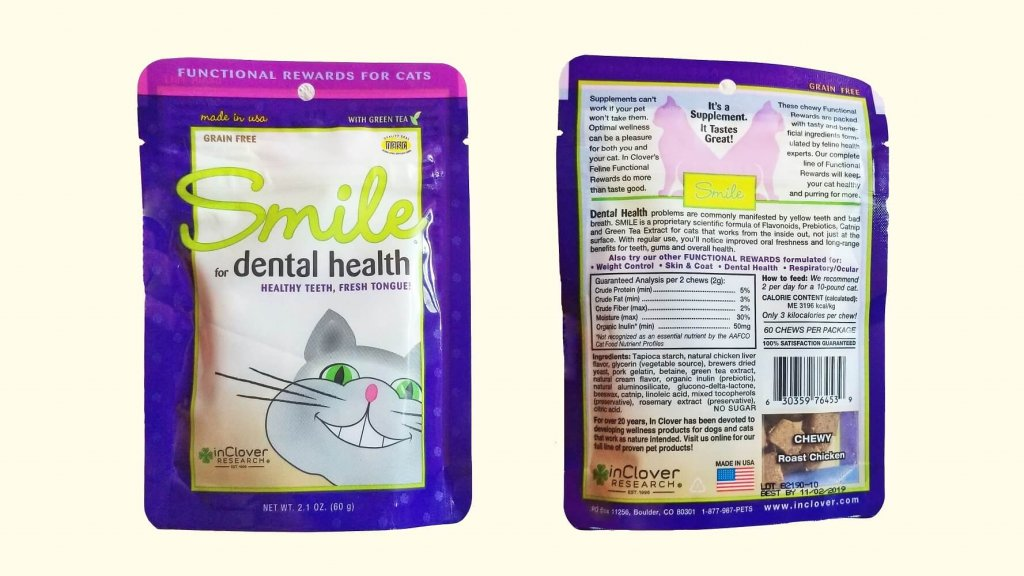 InClover Smile Dental cat treats bag